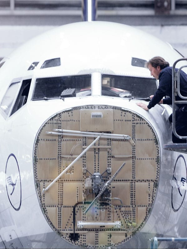 Man working on a aircraft