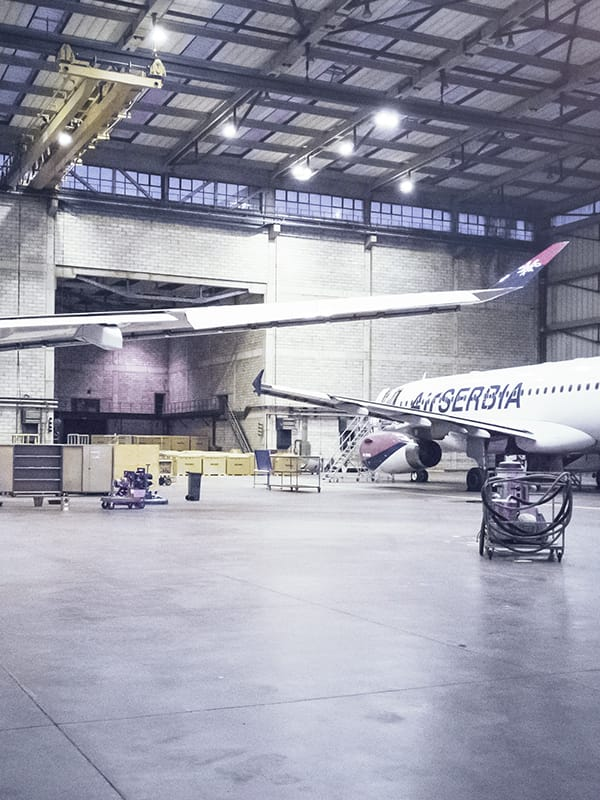 Air Serbia aircraf in hangar