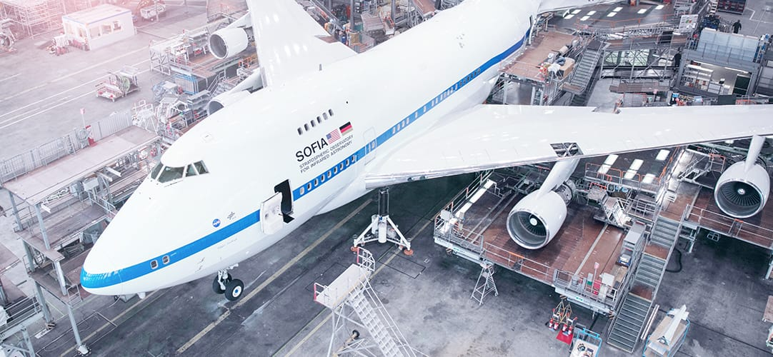 SOFIA, the Stratospheric Observatory for Infrared Astronomy, in our hangar for heavy maintenance