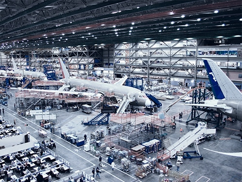 Production inspection of Boeing 787 aircraft