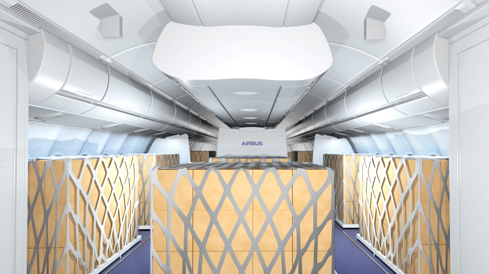 Transitional cargo transport in an A330 cabin