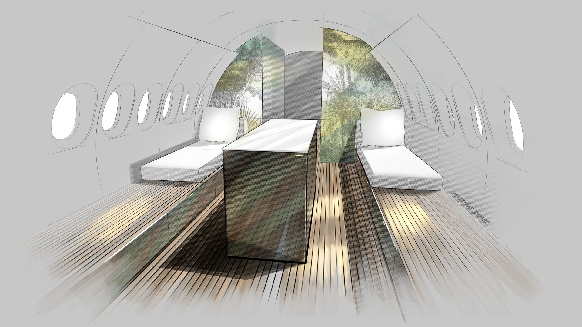 SkyRetreat Breathtaking VIP cabin interior for the Airbus A 220